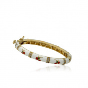 LMTS 14k Goldplated Children's White Enamel and Cubic Zirconia Oval Bangle