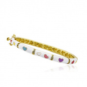 LMTS Girls' 14k Goldplated Cubic Zirconia and Pink Enamel Oval Bangle