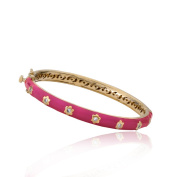 LMTS Girls 14k Gold and Cubic Zirconia Bangle With Gold Flowers