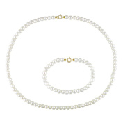 M by Miadora Children's Cultured Freshwater Pearl Necklace and Bracelet Set