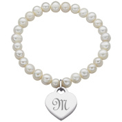 Platinum Overlay Freshwater Pearl Heart Initial Stretch Bracelet