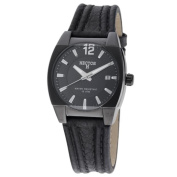 Hector H France Men's 'Fashion' Black Leather Strap Watch