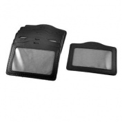 10 Pcs School Horizontal Faux Leather Name Tag ID Badge Card Holders Black