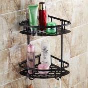 Rozin® Oil Rubbed Bronze Solid Brass Wall Mounted Dual Tier Corner Bracket Bathroom Storage Shelf Shower Caddy Cosmetics