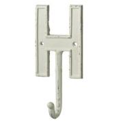 Monogram Letter Alphabet H Single Wall Hook Painted Cast Iron 19cm