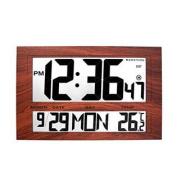 MARATHON CL030025WD Jumbo Atomic Self-setting Self-adjusting Wall Clock w/ Stand in Wood Tone