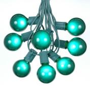 7.6m G50 Outdoor Lighting Patio Globe String Lights, Green, Green Wire, 25 Bulbs