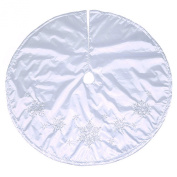 120cm Jaclyn Smith White w/ Silver Beaded Snowflakes Christmas Tree Skirt