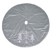 120cm - Jaclyn Smith Silver Beaded Trees Holiday Christmas Tree Skirt