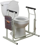 FREE-STANDING TOILET SAFETY RAIL With Magazine Rack Surrounds Existing Standard Or Elongated Toilet. Supports Up To 140kg. Caregivers Love This! Easy Tool-Free Assembly.