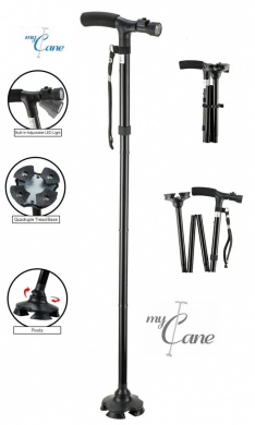 My Cane - Pivoting Quad Base, Folding Cane with Adjustable led light and cushion handle