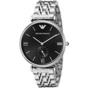 Emporio Armani Men's Retro AR1676 Silver Stainless-Steel Quartz Watch with Black Dial