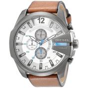 Diesel Men's DZ4280 Brown Leather Quartz Watch with White Dial