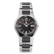 Croton Men's Tungsten and Ceramic Swiss Quartz Watch with Textured Dial and Date