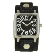 Nemesis Black/White '3D Squared' Unisex Watch with Faded Black Leather Cuff Band