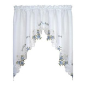 Today's Curtain Verona Reverse Embroidery Window Swag, 100cm , White/Blue