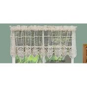 Cotton Crochet Lace Kitchen Curtain Valance Beige Handmade