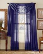 Blue 210cm Sheer Curtain