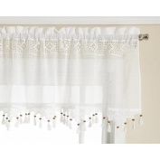 Today's Curtain Gettysburg Knitted 50cm Crochet with Beaded Tassel Valance, White