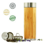 Stainless Steel Bamboo Tea Infuser with Strainer - Best Buy Gift Vacuum Insulation Technology Coffee Travel Mug