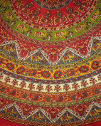 Indian Mandala Print Round Cotton Tablecloth 190cm Red