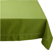 Mahogany Solid-Colour 100-Percent Cotton Hemstitch Tablecloth, 150cm by 150cm Square, Green Oasis