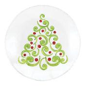 Tannenbaum Christmas Tree Embossed Holiday 20cm Glass Plate Serving Platter