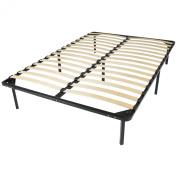 Wooden Slat Metal Bed Frame Wood Platform Bedroom Mattress Foundation Queen