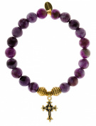 EvaDane Natural Semi Precious Sugilite Gemstone Tibetan Bead Cross Charm Stretch Bracelet