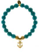 EvaDane Natural Semi Precious Turquoise Gemstone Tibetan Bead Anchor Charm Stretch Bracelet