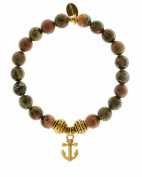 EvaDane Natural Semi Precious Unakite Gemstone Tibetan Bead Anchor Charm Stretch Bracelet