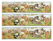Baby Jungle Animals Colorfull- Designer Strips - Edible Cake Side Toppers