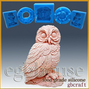 Owl- Detail of High Relief Sculpture - silicone Soap/sugar/fondant/chocolate/Marzipan 2D mould
