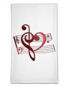 TooLoud Heart Sheet Music Flour Sack Dish Towel