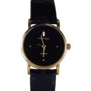 Vecceli Women's Fashion Black Leather Watch