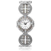 Geneva Platinum Women's Marcasite Round Face Bracelet Watch