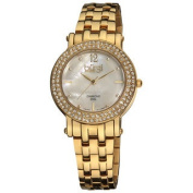 Burgi Women's Diamond Mother of Pearl Dial Stainless Steel Bracelet Watch
