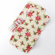 St Nicholas Square Reversible Quilted Table Runner Poinsettia & Plaid 12x72