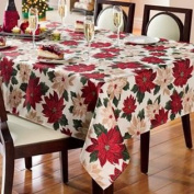 St Nicholas Square Poinsettia Flowers Tablecloth Fabric Table Cloth 70 Round