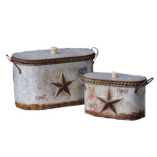 Your Heart's Delight Embossed Star Nested Canisters with Lid Set, 14-1/4 by 20cm by 18cm , Set of 2