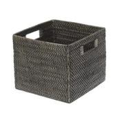 KOUBOO Square Rattan Storage Basket, Black Antique