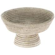 Kouboo, La Jolla Handwoven Pedestal Rattan Fruit Bowl, 27cm x 15cm , White Wash