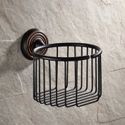 Vintage Oil Rubbed Bronze Finish Wall Mount Roll Toilet Paper Wire Basket Toilet Tissue Caddy Storage Bathroom Shower Co