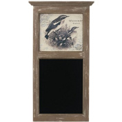 Framed Antique Whinchat Print with Chalkboard - 80cm Rustic Messageboard