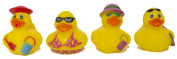 "Set of Four 5.1cm Rubber Duckies ""Beachy"""