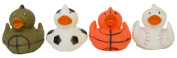 "Set of Four 6.4cm Rubber Duckies ""Sporty"""