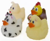 "Set of Four 5.1cm Rubber Duckies ""On the Farm"""