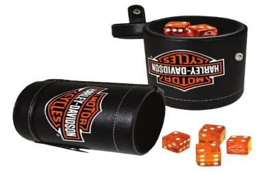 Harley-Davidson Bar & Shield Logo Dice Cup Game Set, Leatherette Cup 651