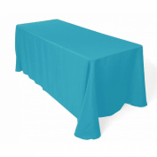 Tablecloth Polyester Rectangular Seamless (One Piece) 230cm x 270cm Turquoise By Broward Linens