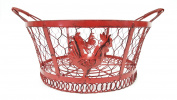 Round Red Rooster Metal Basket, Large